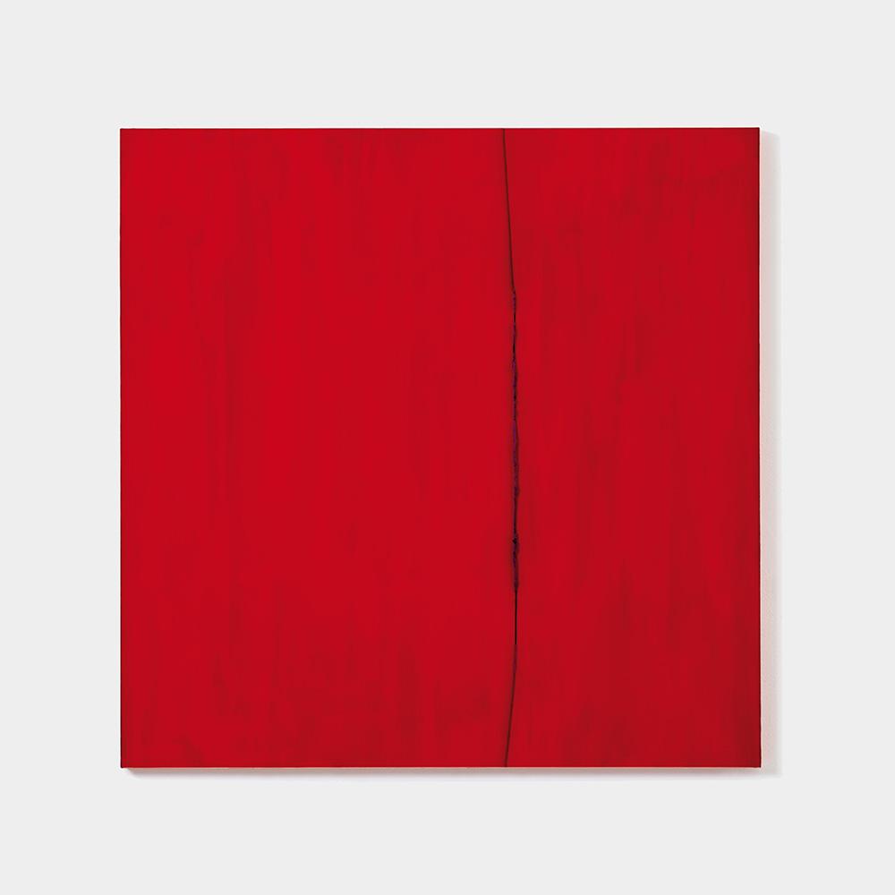 Blau aus Blau durch Rot, 2019, Acryl hinter und durch Plexiglas, 84 x 84 cm