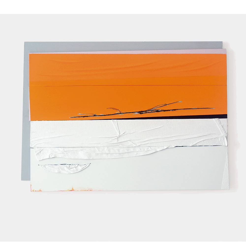Fahne, orange /weiß, 2019, Öl, Lack, Acryl, Hemd, Alu-Dibond, 40,5 x 55 cm