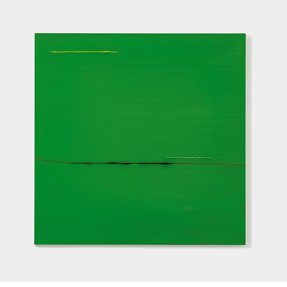 Gelb, Grün, Blau durch Grün, 2019, Acryl hinter und durch Plexiglas, 84 x 84 cm