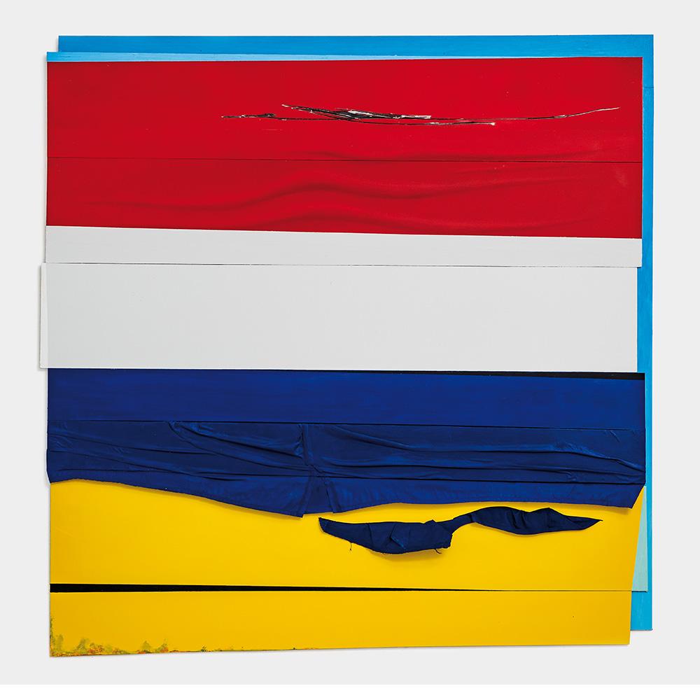 Mainzer Faschingsfahne, 2019, Öl, Lack, Acryl, Hemd, Alu-Dibond, 109 x 108 cm