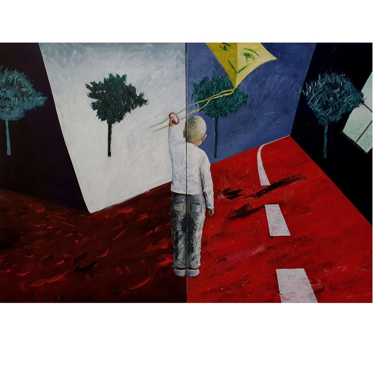 Reinhard Ader: Ein Sturm kommt auf V., 2020, Öl und Acryl auf Leinwand, 140x200 cm