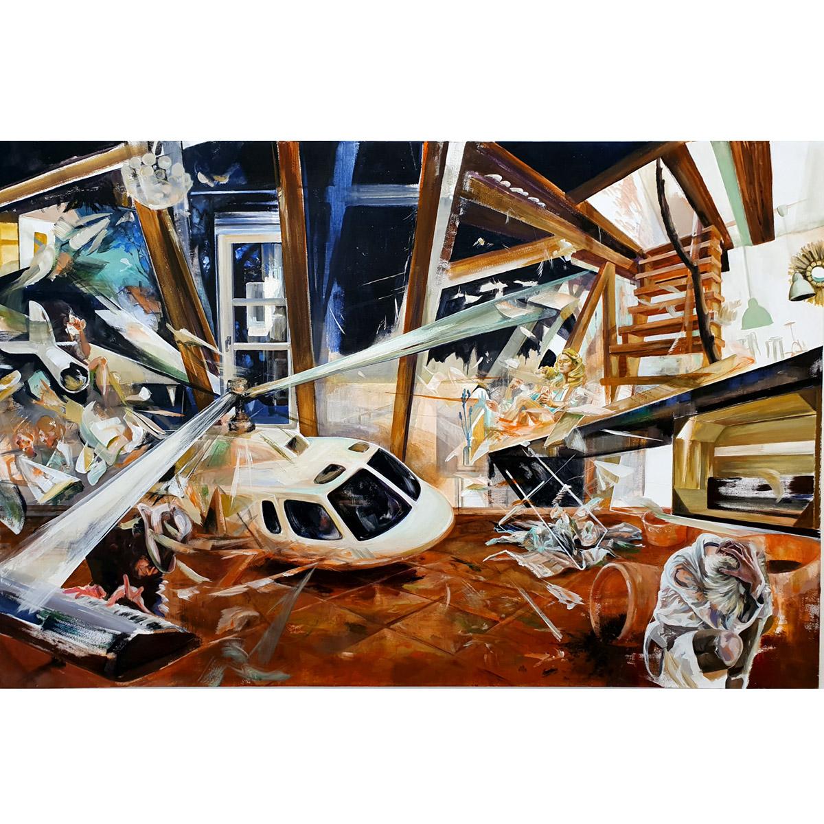 Nina Bußjäger: Kamaloka 3h, 2020, Acryl auf Leinwand, 100 x 150 cm