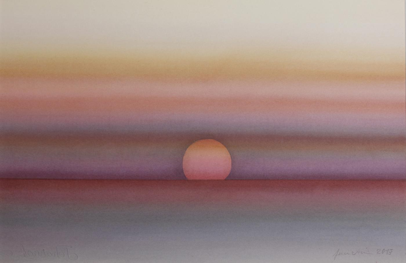Fred Feuerstein: Sonnenuntergang in Thailand, Aquarell, 50 x 70 cm