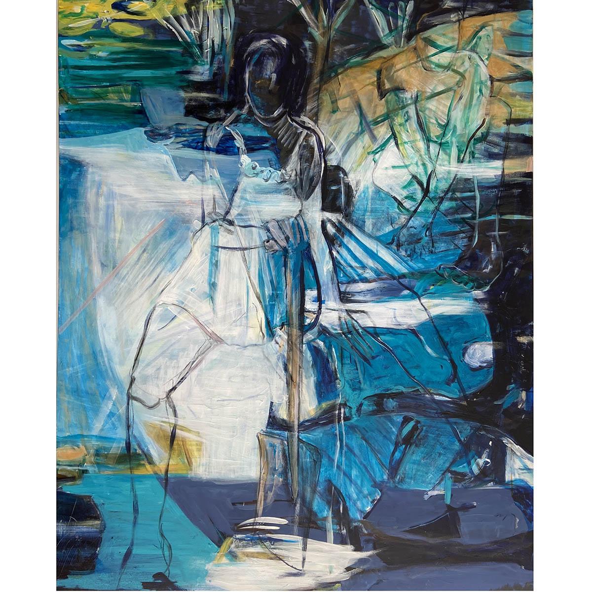 Karin Germeyer-Kihm: Anfang, 2020, Acryl auf Leinwand, 150x120 cm