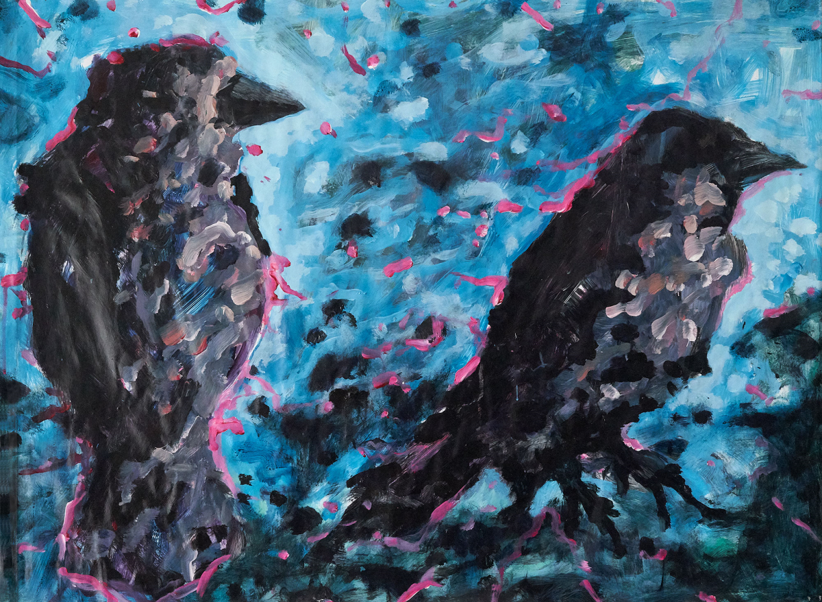 Susanne Lorenz: Zwei Vögel, 2020, Plakat/Acryl, 60 x 80 cm