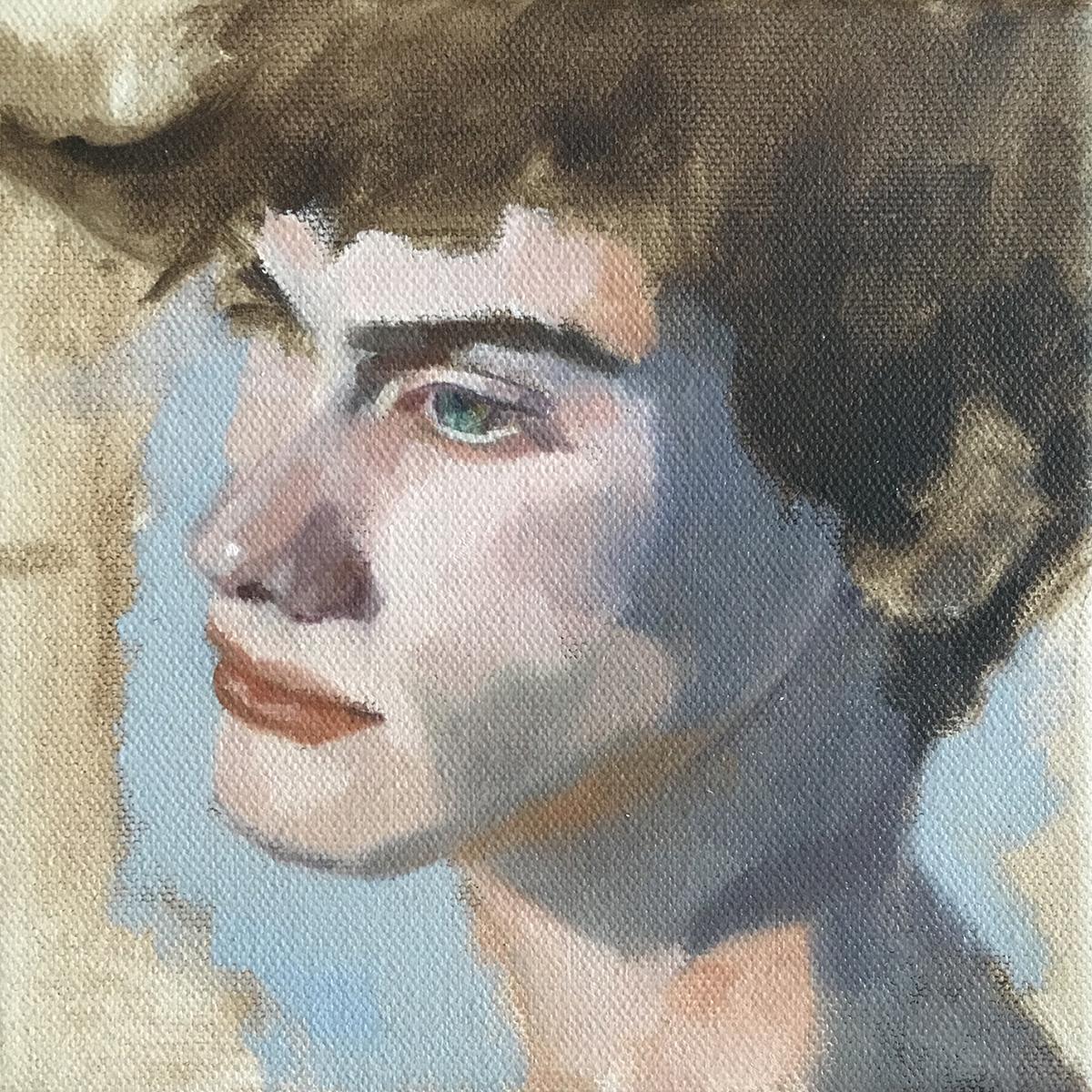 Christine Weinmüller: Max, 2019, Öl auf Leinwand, 15x15 cm